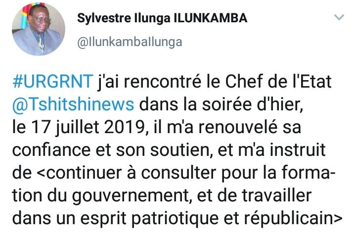 Tweet Sylvestre Ilunga