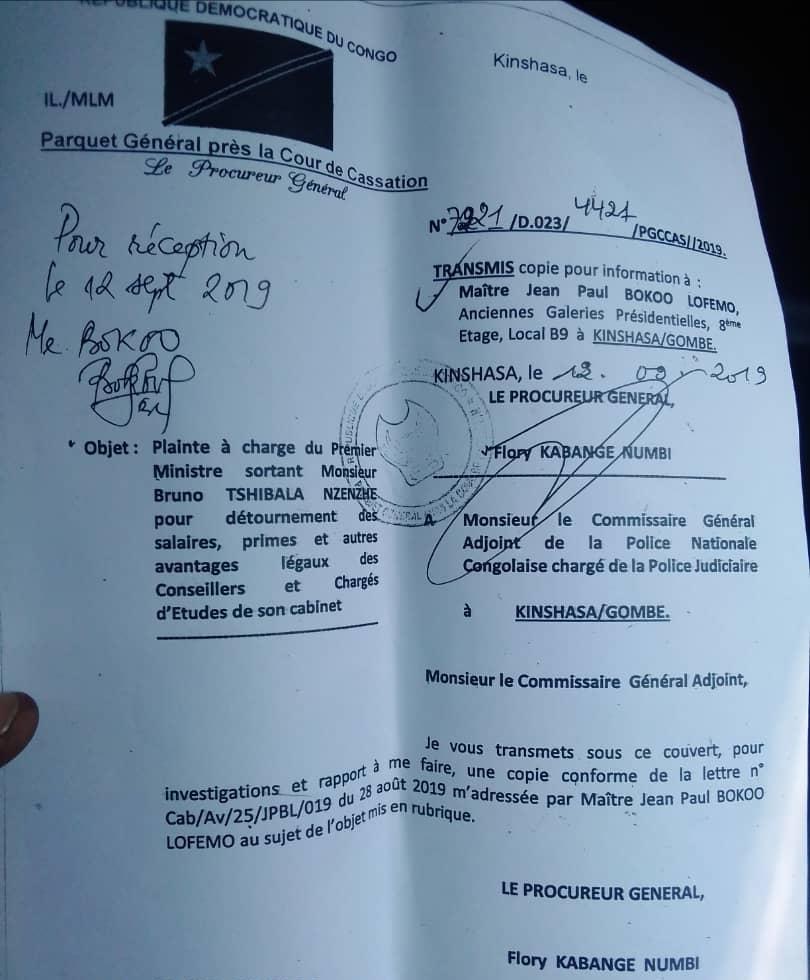Plainte Bruno Tshibala